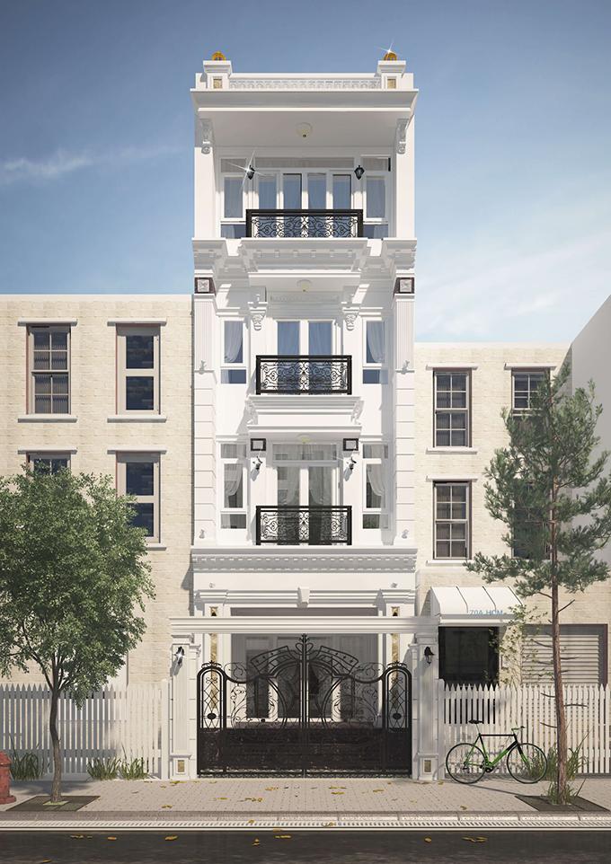 Mẫu nhà phố 4 tầng tone trắng ấn tượng