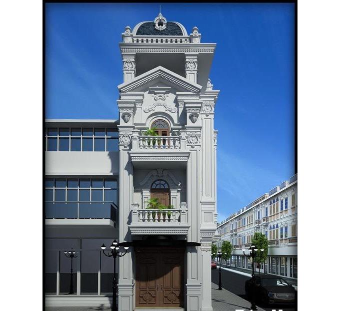 Nhà phố 3 tầng 5x20m phong cách cổ điển
