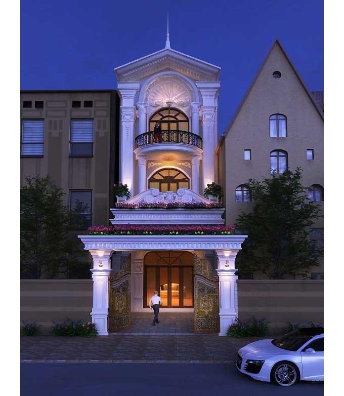Nhà phố 3 tầng 5x20m phong cách tân cổ điển