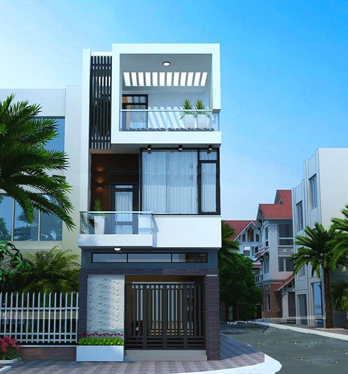 Nhà phố 3 tầng mặt tiền 5m hiện đại
