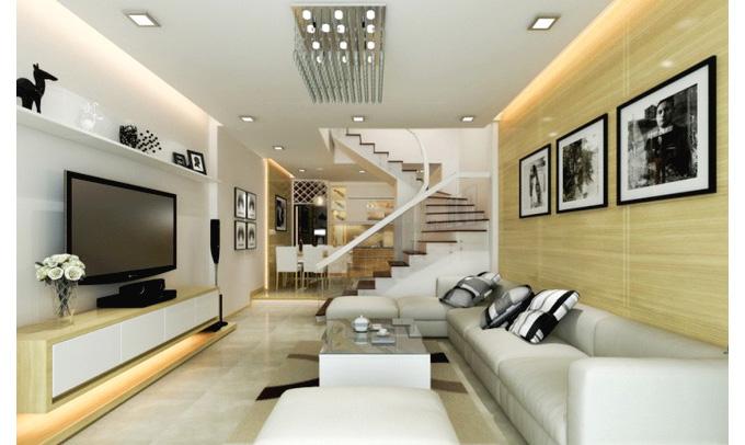 Nội thất phòng khách nhà phố 3 tầng mặt tiền 5m