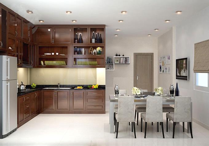 Phòng bếp nhà phố 3 tầng 5m hiện đại