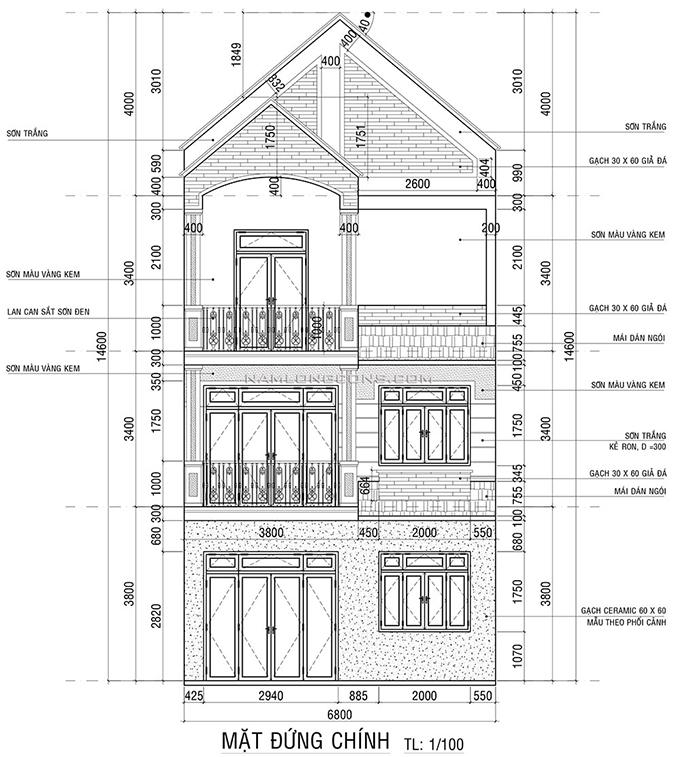 Bản vẽ mặt đứng của nhà 3 tầng mái thái