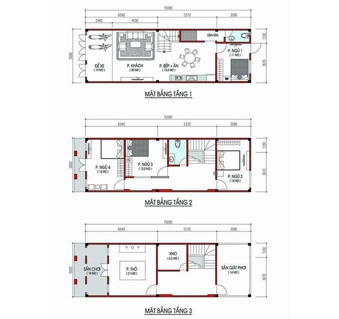 Bản vẽ thiết kế chi tiết các tầng của ngôi nhà