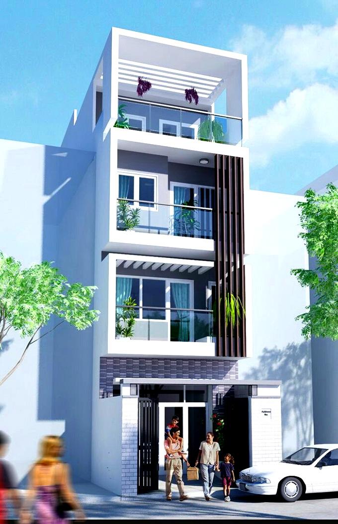 Mặt tiền nhà phố 4 tầng hiện đại