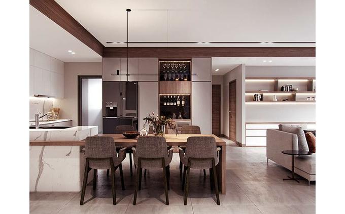 Phòng bếp nhà phố 4 tầng hiện tại