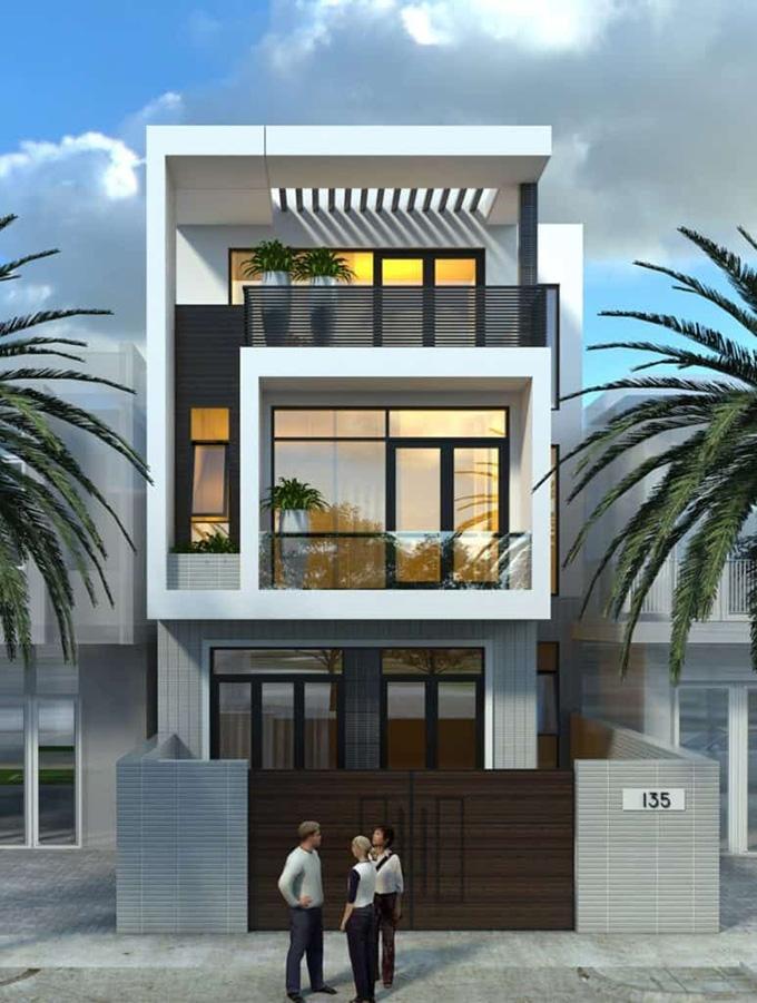 Thêm 1 mẫu thiết kế nhà phố 3 tầng 5x16